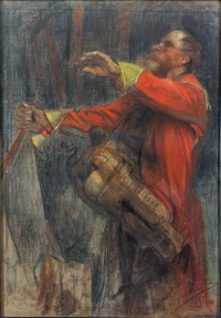 """Leon Wyczółkowski, """"Lirnik"""", 1901, (""""Ślepiec"""", Lirnik w borze), pastel, płótno, zbiory prywatne"""