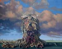 """Janusz M. Kochanowski, """"Mój przyjaciel"""", akryl, olej, płótno, 60x75 cm"""