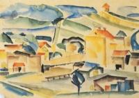 Zbigniew Papke, Bolków I, akwarela, 1965, 30×41 cm