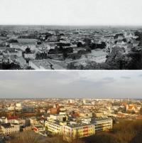 Panorama Bydgoszczy sfotografowana z Wieży Ciśnień ok. 1913 i w 2013 roku