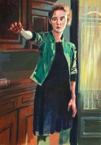 """Jan Kaja, """"Spojrzenie"""", akryl, płótno, 100×70 cm"""