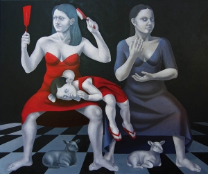 Beata Ewa Białecka, Panna mądra panna głupia z cyklu Macierzyństwo, 2012, 150×180 cm