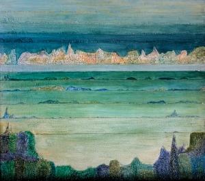 """Liliana Kużdowicz, """"Pejzaż morski"""" [akryl, olej]"""