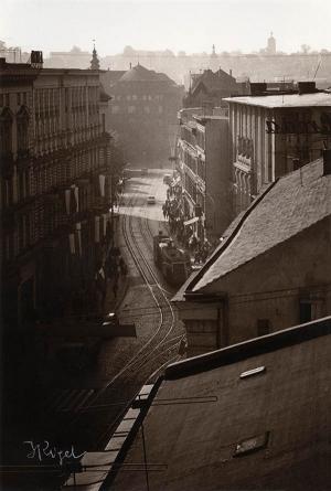 Jerzy Riegel, Widok na Aleje 1 Maja, 1968, brom sepiowany