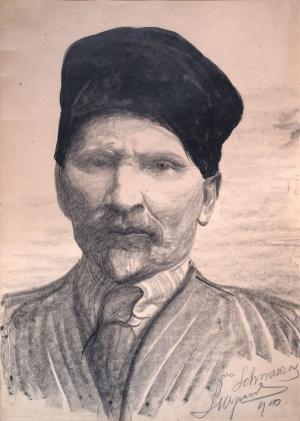 """Leon Wyczółkowski, """"Autoportret - popiersie w czapce"""", 1910, papier, autolitografia, wł. MOB"""