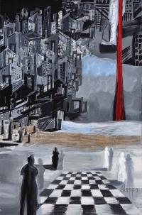 """""""Aleppo jest czernią"""", olej, płótno, 321×210 cm, 2017"""