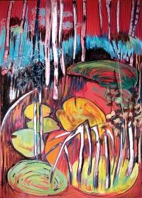 """Agata Dołkowska, """"Brzozy"""", 2013, suchy pastel, 100×70 cm"""