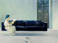 """Marek Szary, """"Zwiastowanie"""", 1999, olej na płótnie, 100 x 135 cm"""