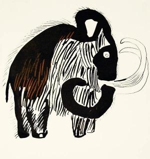 """""""Dużo śmiechu, trochę smutku to opowieść o mamutku"""", 1961, ilustracja"""