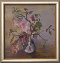 Wanda Kosińska-Nowak, Kwiaty, olej, 46,5×44,0 cm