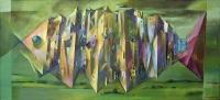 Miasto N., akryl na płótnie, 110x55 cm, 2001