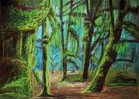 Justyna Jułga, The forest, akryl, pastel olejny, karton, 100 x 70 cm, IV. 2014 r.