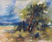 """Miłosz Matwijewicz, """"Pejzaż"""", 2011, akwarela, 39,5×49,5 cm"""