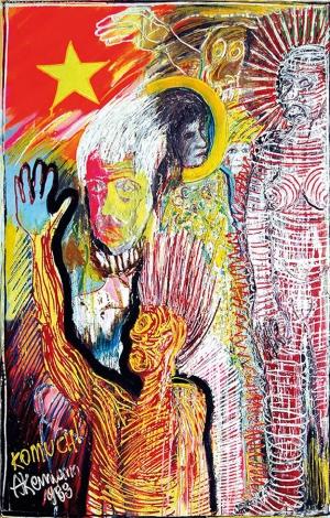 Janusz Akermann, Komuch, 1988, olej na płótnie, wym. 182×132 cm, wł. Muzeum Narodowe w Gdańsku