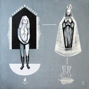 """Magdalena Rucińska, """"Nie-pokoje"""", akryl na płótnie, 40×40 cm"""