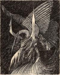 Halina Witkowska, bez tytułu, 1980, tusz, papier, 62,5×50,0 cm