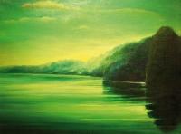 """""""Pejzaż zielony"""", olej, 60×81 cm, 1994"""