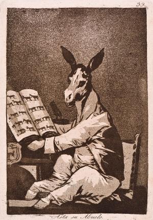 """Francisco Goya, """"Kaprysy"""" (Los Caprichos), 1799, Asta su Abuelo; """"Osioł z dziada pradziada"""" (sfabrykowana genealogia Godoya), akwatinta"""