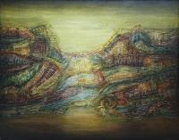 Liliana Kużdowicz, Impresja pejzażowa V, akryl, olej, 95x75 cm, 1995