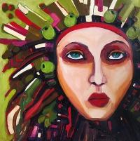 """Katarzyna Rymarz, """"Memory and games"""", 2016, 60x60 cm, olej na płótnie"""