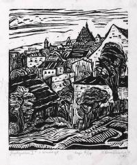 Anna Sroczanka, Bydgoszcz I, 1963, linoryt, 20,5×17,0 cm
