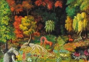 """Teofil Ociepka, """"Dżungla"""", 1964, olej, płótno"""