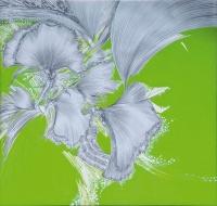 """Danuta Nawrocka, z cyklu """"Szelest moich myśli"""", 2014, 95×100 cm, płótno, ołówek i akryl"""
