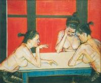 Kazimierz Drejas, Przy stole XV, olej, żywica, 50×60 cm, 2008