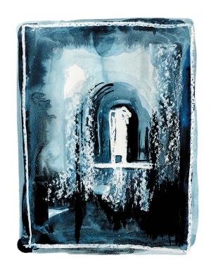 Sonia Zengel z cyklu Okna I, tusz lawowany, papier